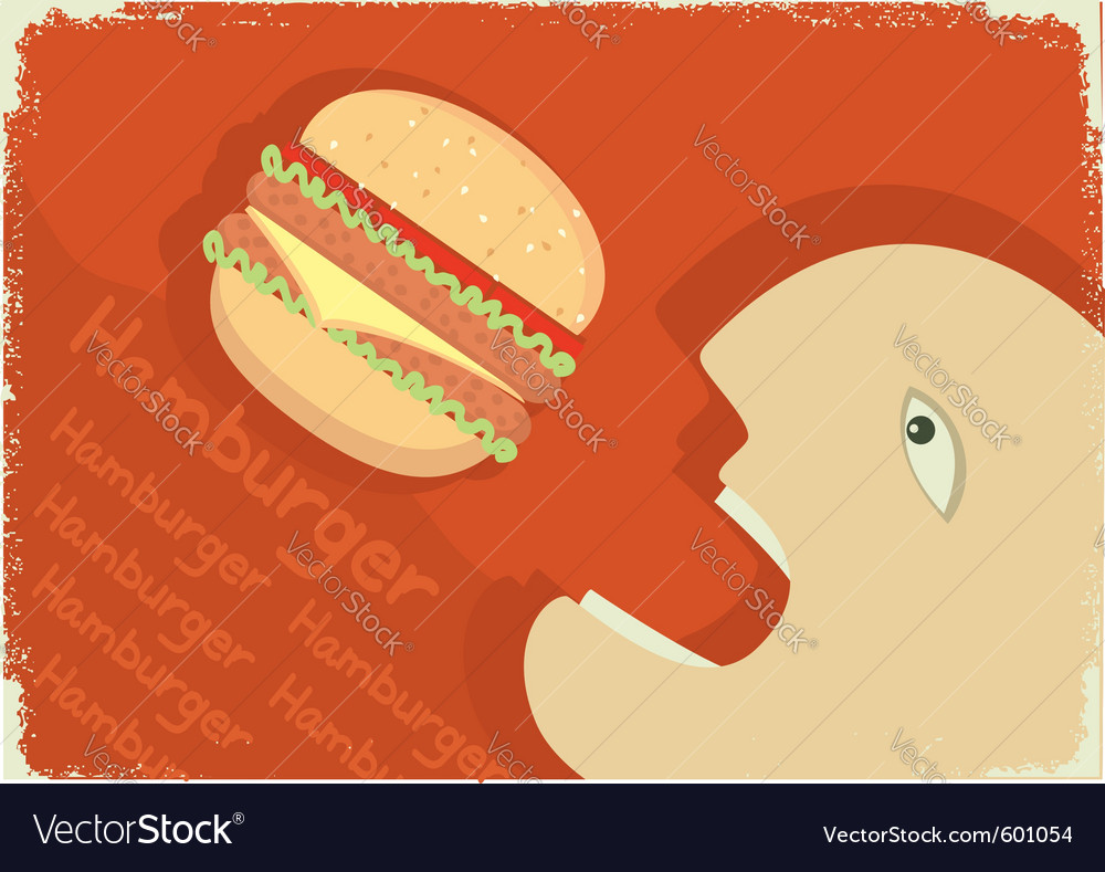 Man eating hamburger vector | Price: 1 Credit (USD $1)