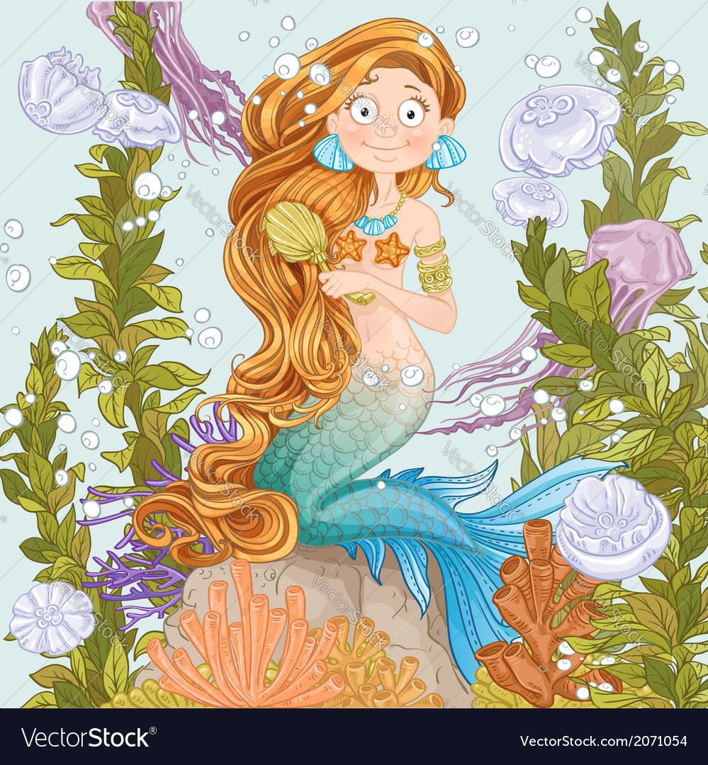 Mermaid combing long hair on undersea background vector   Price: 3 Credit (USD $3)
