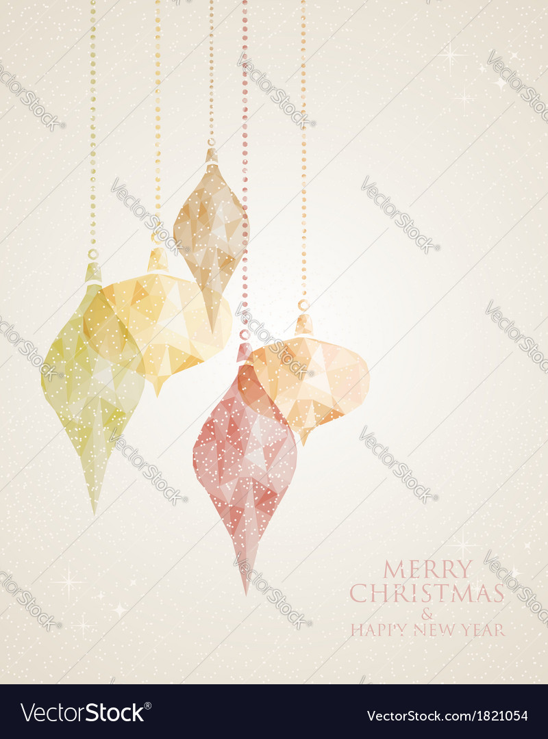 Merry christmas triangle hanging baubles vector | Price: 1 Credit (USD $1)