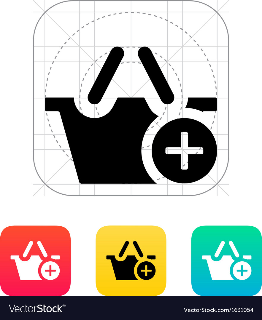 Shopping basket with plus icon vector | Price: 1 Credit (USD $1)