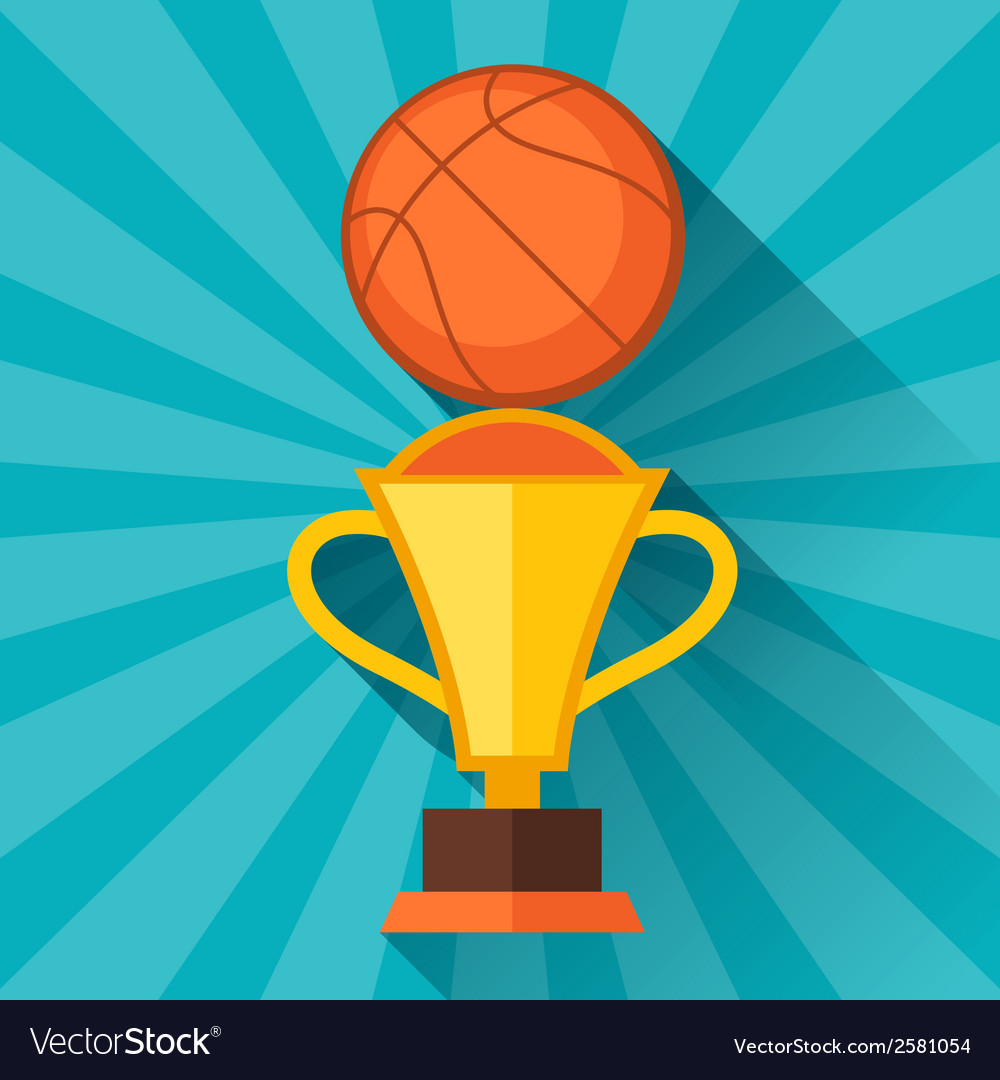 Sports with basketball and prize in flat style vector | Price: 1 Credit (USD $1)