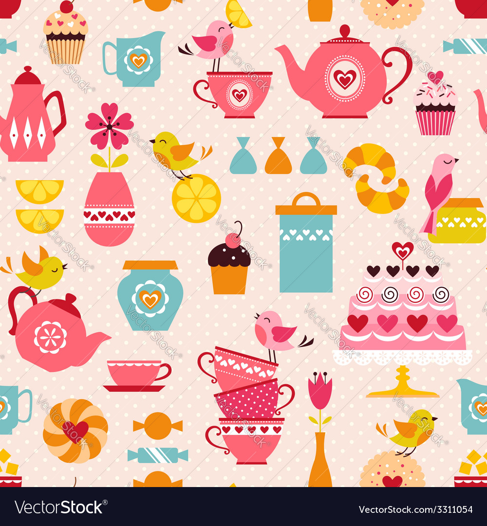 Tea with love pattern vector | Price: 1 Credit (USD $1)