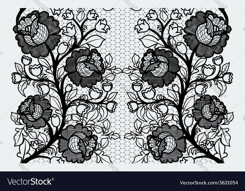 Wide seamless black lace ribbon with roses vector | Price: 1 Credit (USD $1)