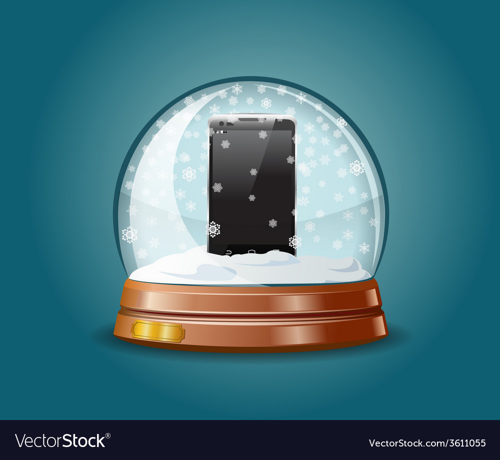 Cell phone in snow globe vector | Price: 1 Credit (USD $1)