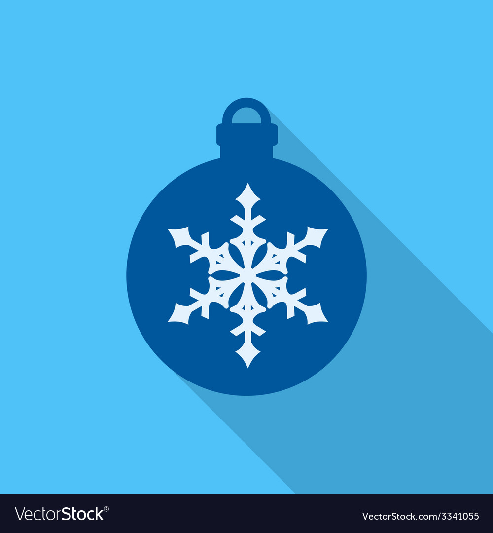 Christmas ball flat icon on blue background vector | Price: 1 Credit (USD $1)
