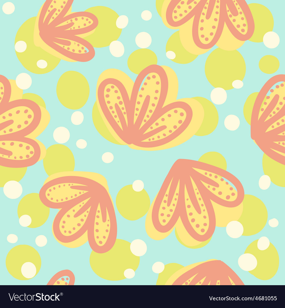 Cute hand drawn floral pattern vector | Price: 1 Credit (USD $1)