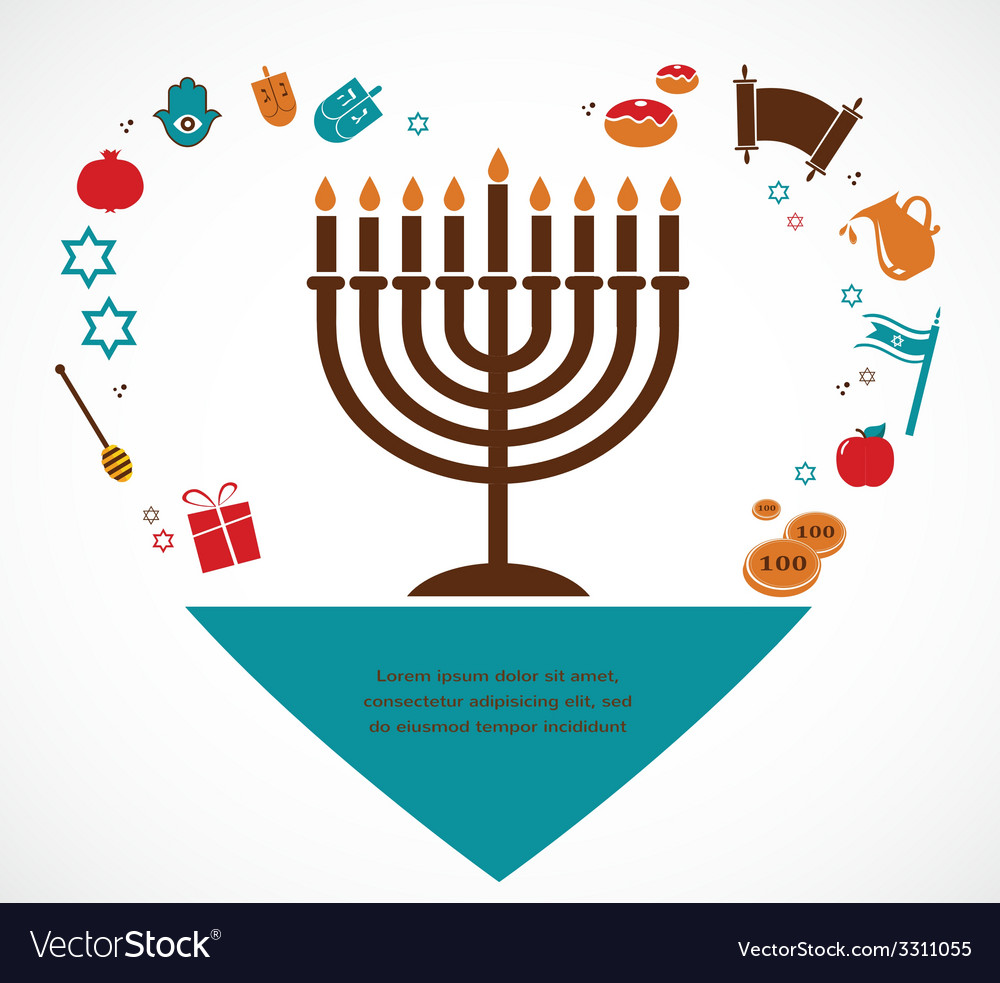 Famous symbols for the jewish holiday hanukkah vector | Price: 1 Credit (USD $1)