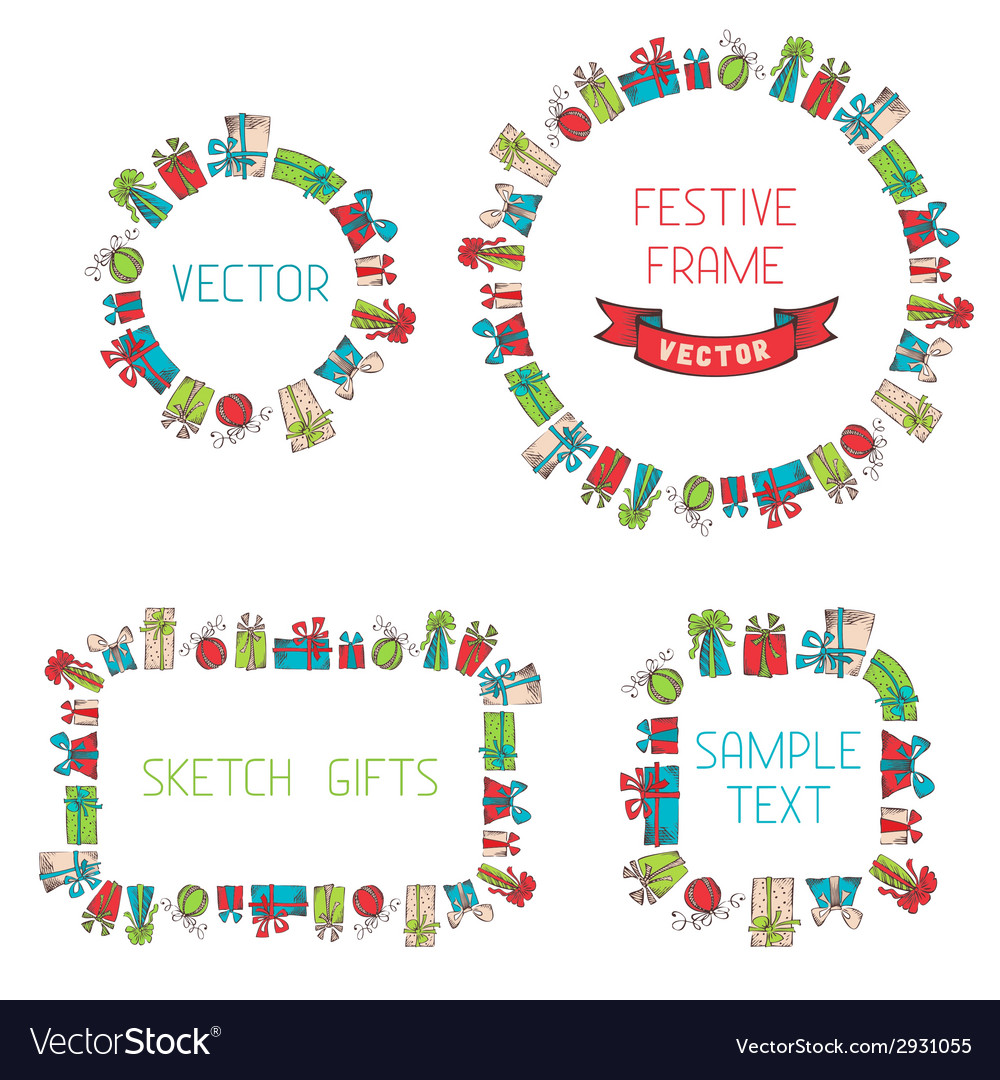 Festive hand drawn frames vector | Price: 1 Credit (USD $1)