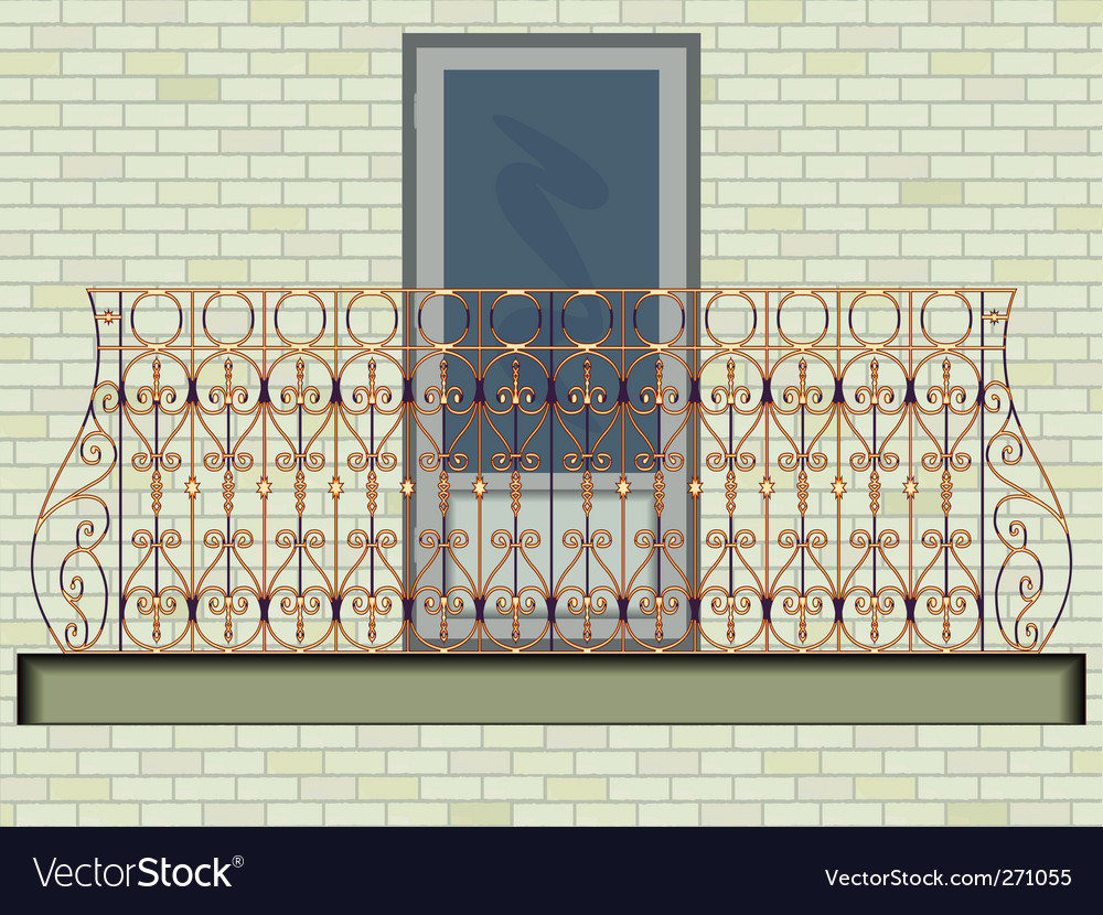 Iron balcony on brick wall vector | Price: 1 Credit (USD $1)