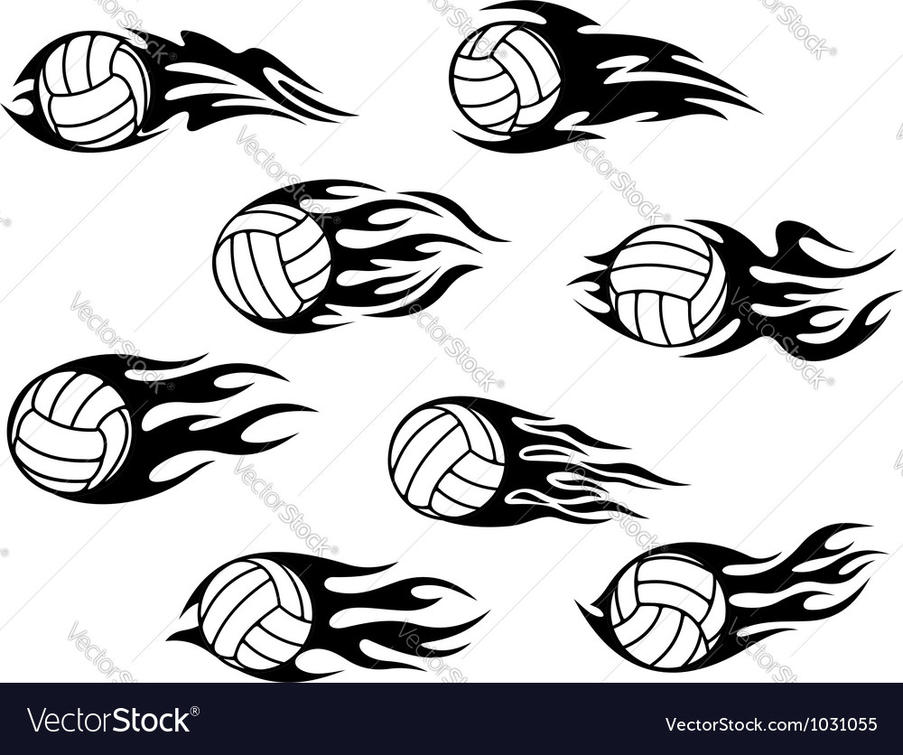 Set of volleyball sports tattoos vector | Price: 1 Credit (USD $1)