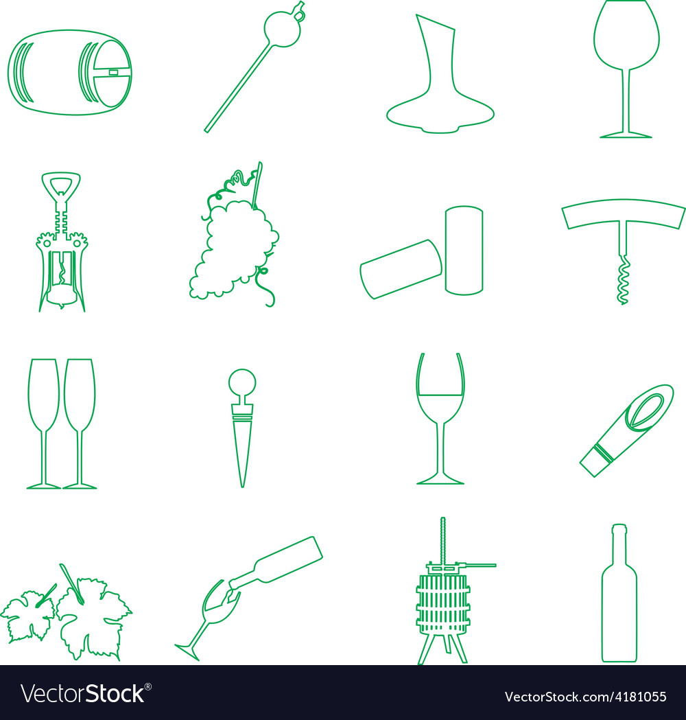 Simple outline wine icons set eps10 vector | Price: 1 Credit (USD $1)