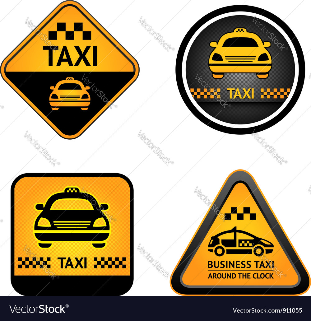 Taxi cab set stickers vector | Price: 3 Credit (USD $3)