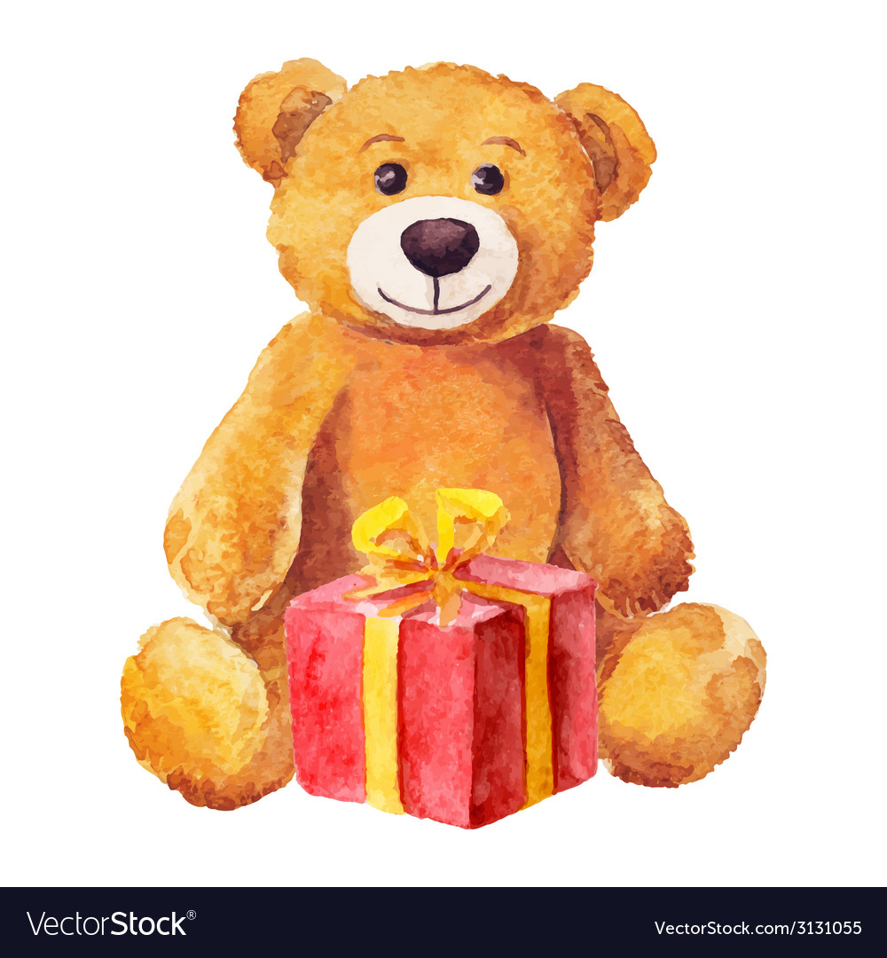 Teddy bear sits with a red gift watercolor vector | Price: 1 Credit (USD $1)