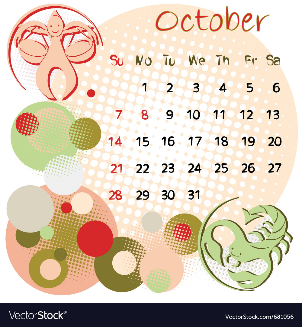 2012 calendar october vector | Price: 1 Credit (USD $1)