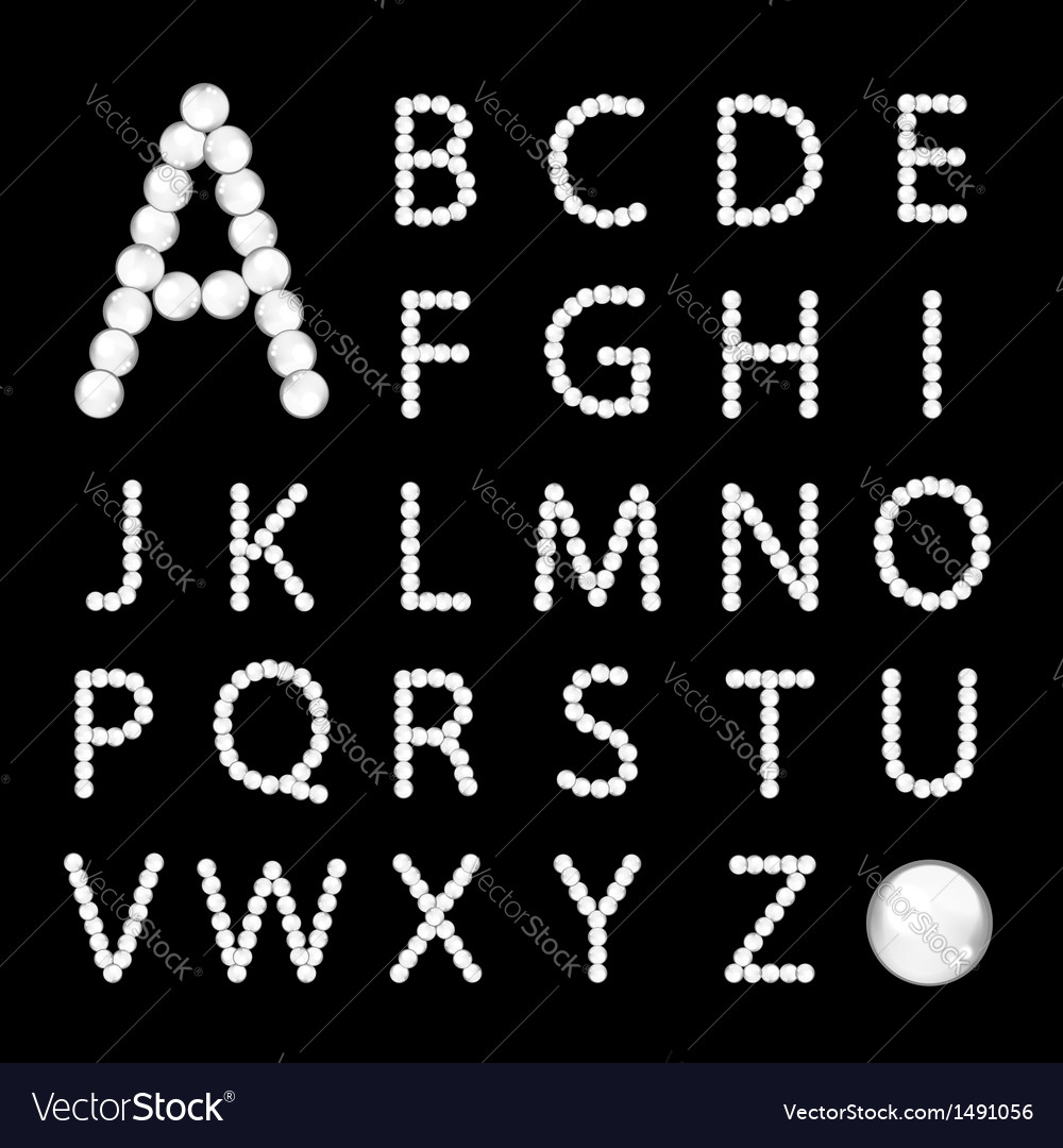 Alphabet made from white pearls for your design vector | Price: 1 Credit (USD $1)