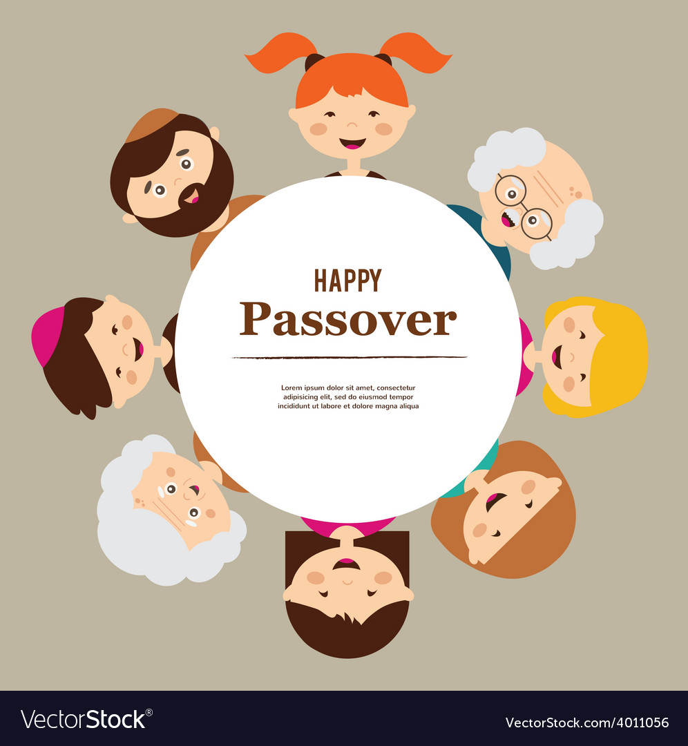 Big family around passover plate happy holiday vector | Price: 1 Credit (USD $1)