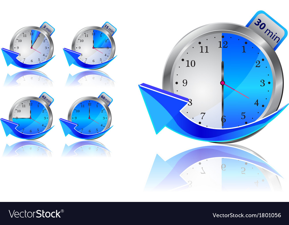 Blue timer clocks with arrows vector | Price: 1 Credit (USD $1)