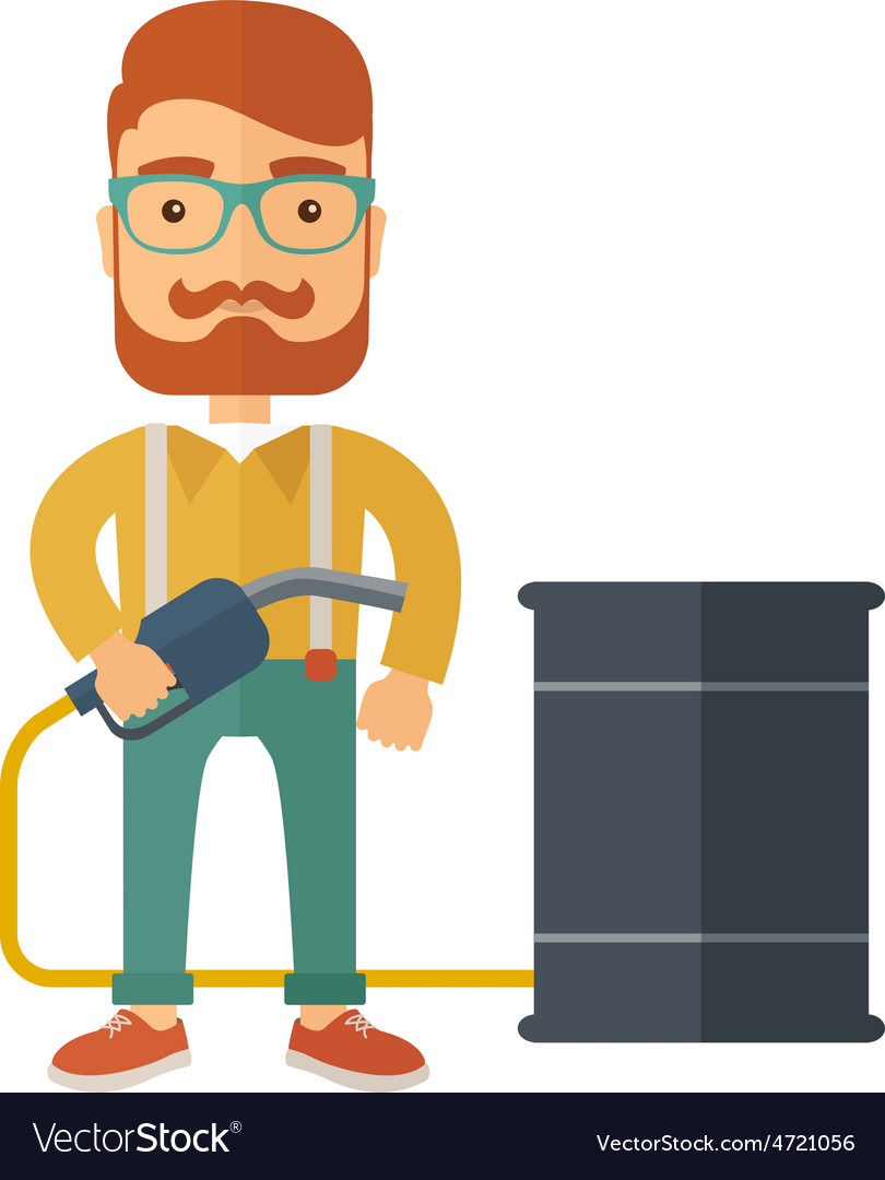 Businessman with barrel and pump vector | Price: 1 Credit (USD $1)