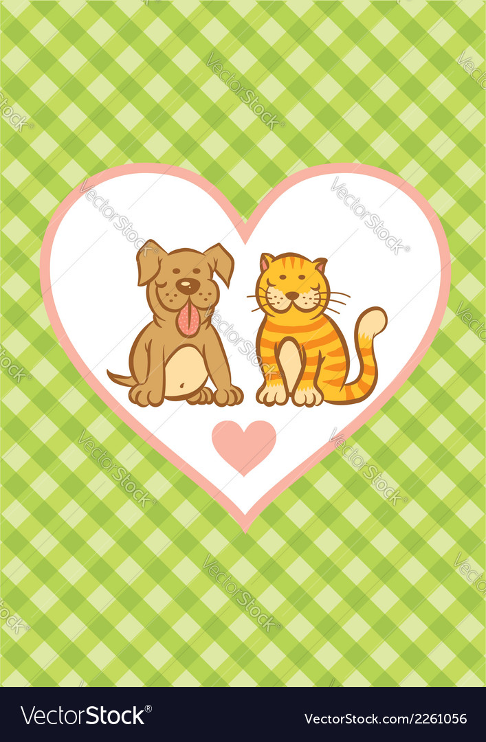 Cat and dog and background vector | Price: 1 Credit (USD $1)