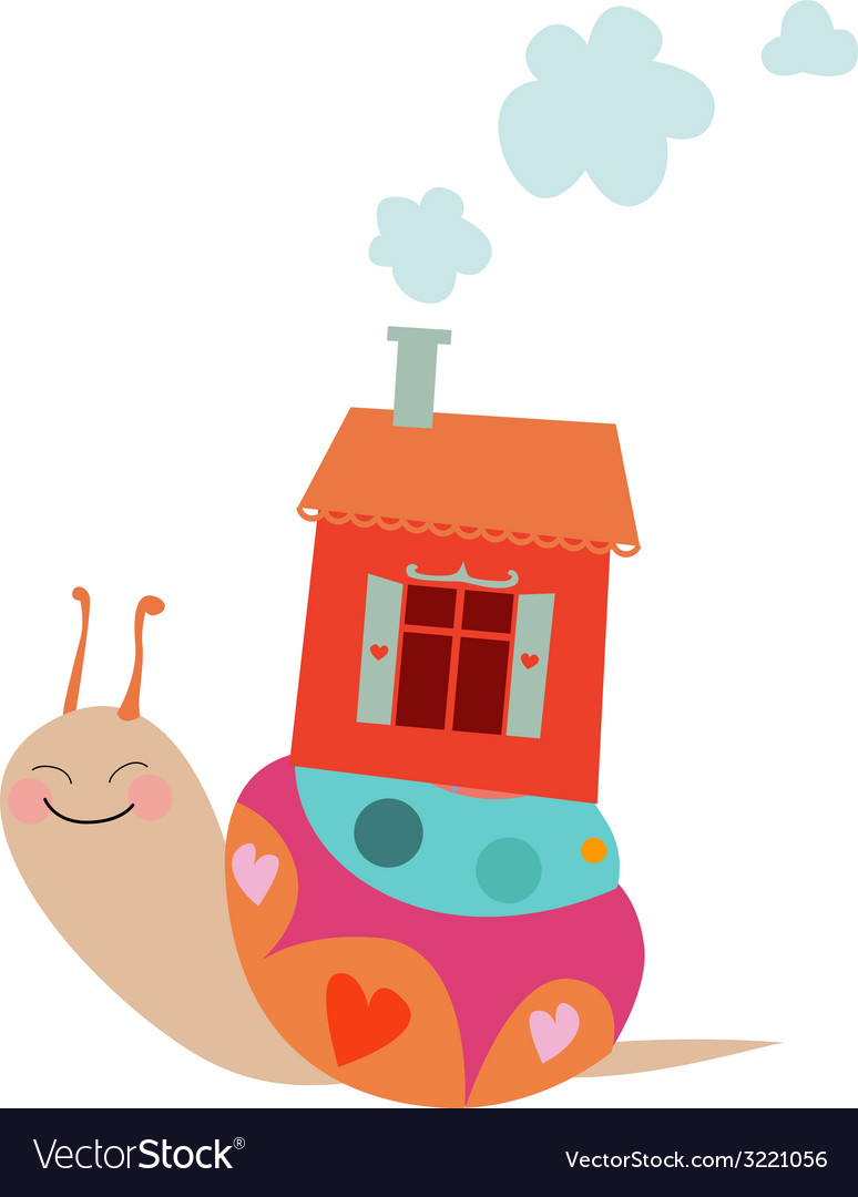 Cute cartoon snail with house vector | Price: 1 Credit (USD $1)