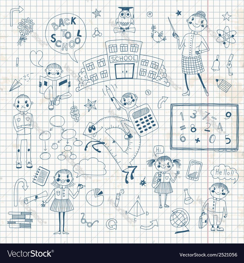 Hand drawn set for school design vector | Price: 1 Credit (USD $1)