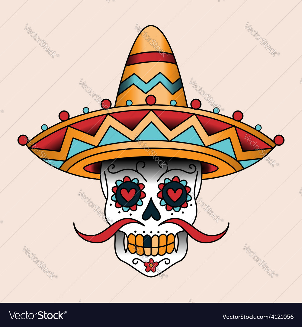 Mexican skull vector | Price: 1 Credit (USD $1)