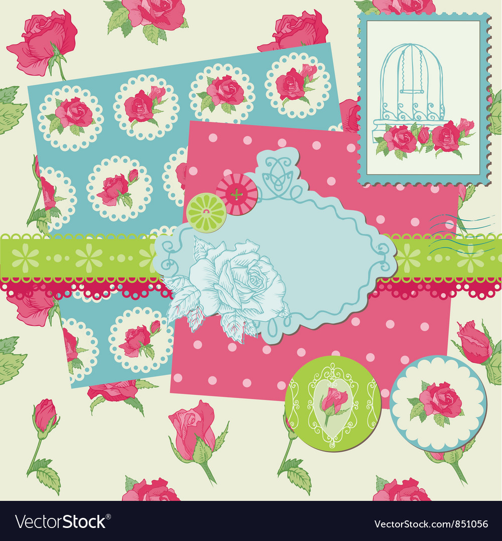 Scrapbook design elements  rose flowers vector
