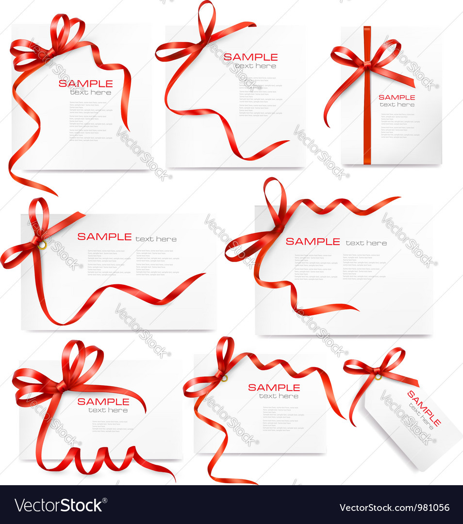 Set of card notes with red gift bows with ribbons vector | Price: 1 Credit (USD $1)