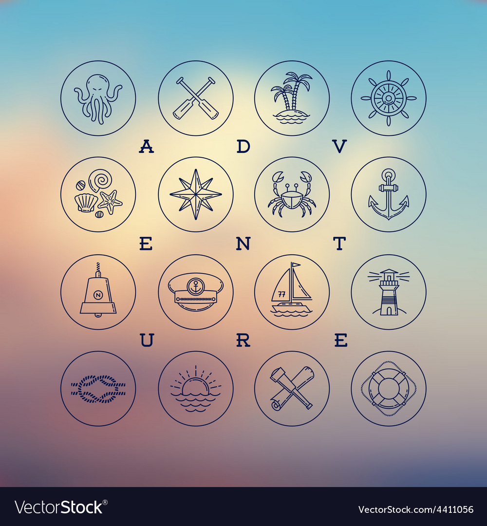 Travel adventures and nautical line drawing icons vector | Price: 1 Credit (USD $1)