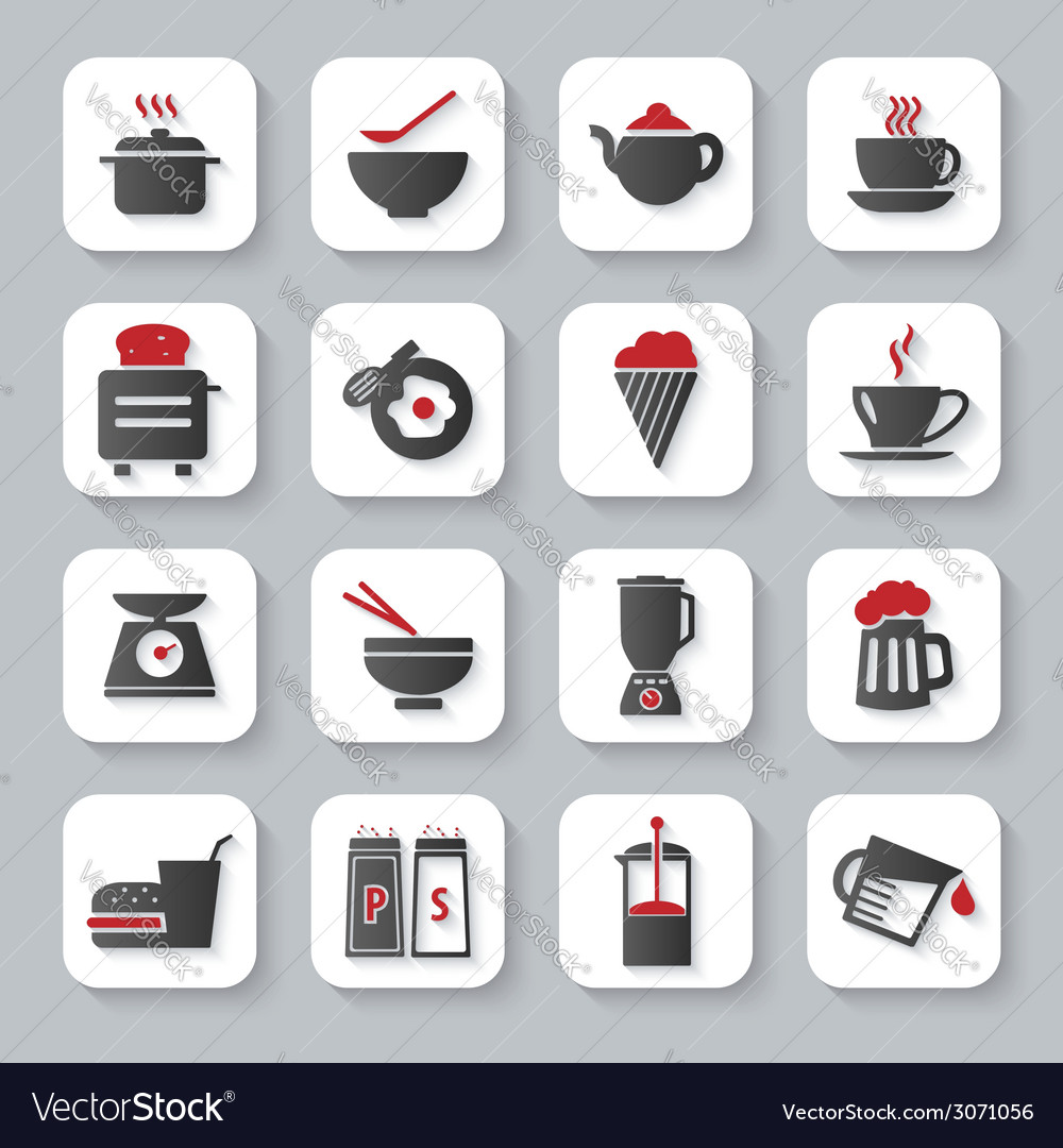 White flat cooking and food icons vector | Price: 1 Credit (USD $1)