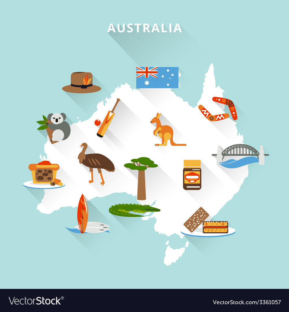 Australia tourist map vector | Price: 1 Credit (USD $1)