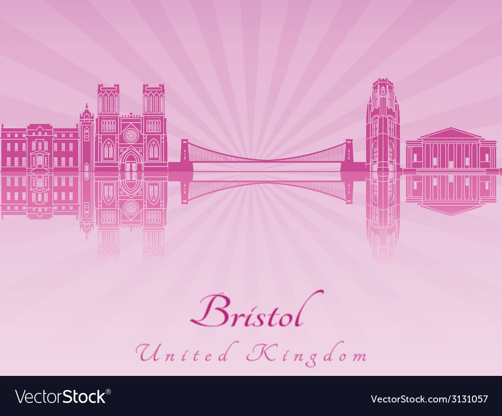 Bristol skyline in purple radiant orchid vector | Price: 1 Credit (USD $1)