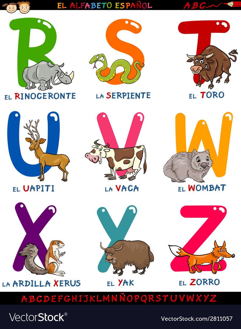 Cartoon spanish alphabet with animals vector | Price: 1 Credit (USD $1)