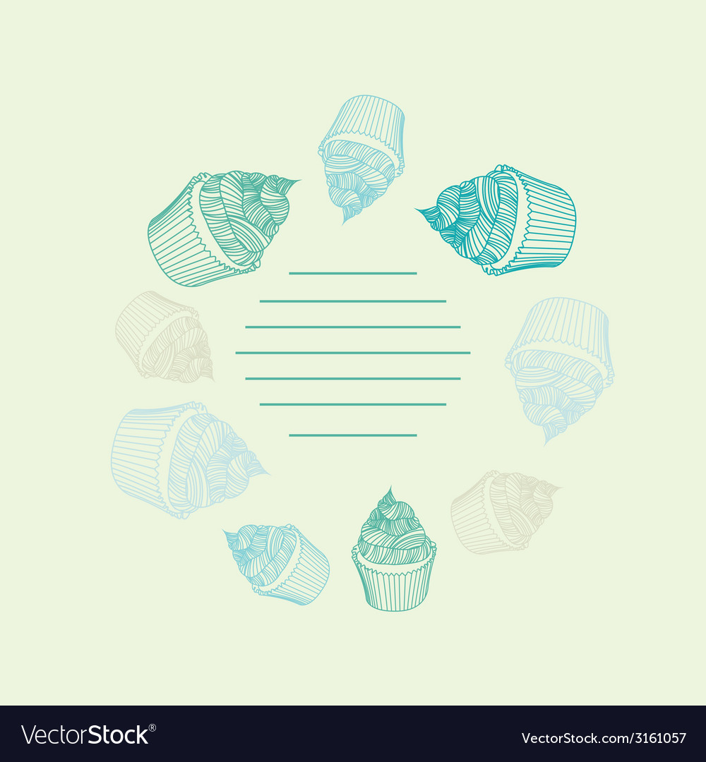 Circular pattern of cupcakes with chalks sketches vector   Price: 1 Credit (USD $1)