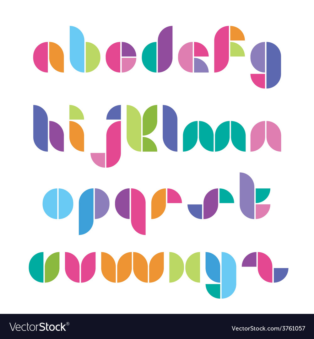 Color font from geometrical figures vector | Price: 1 Credit (USD $1)