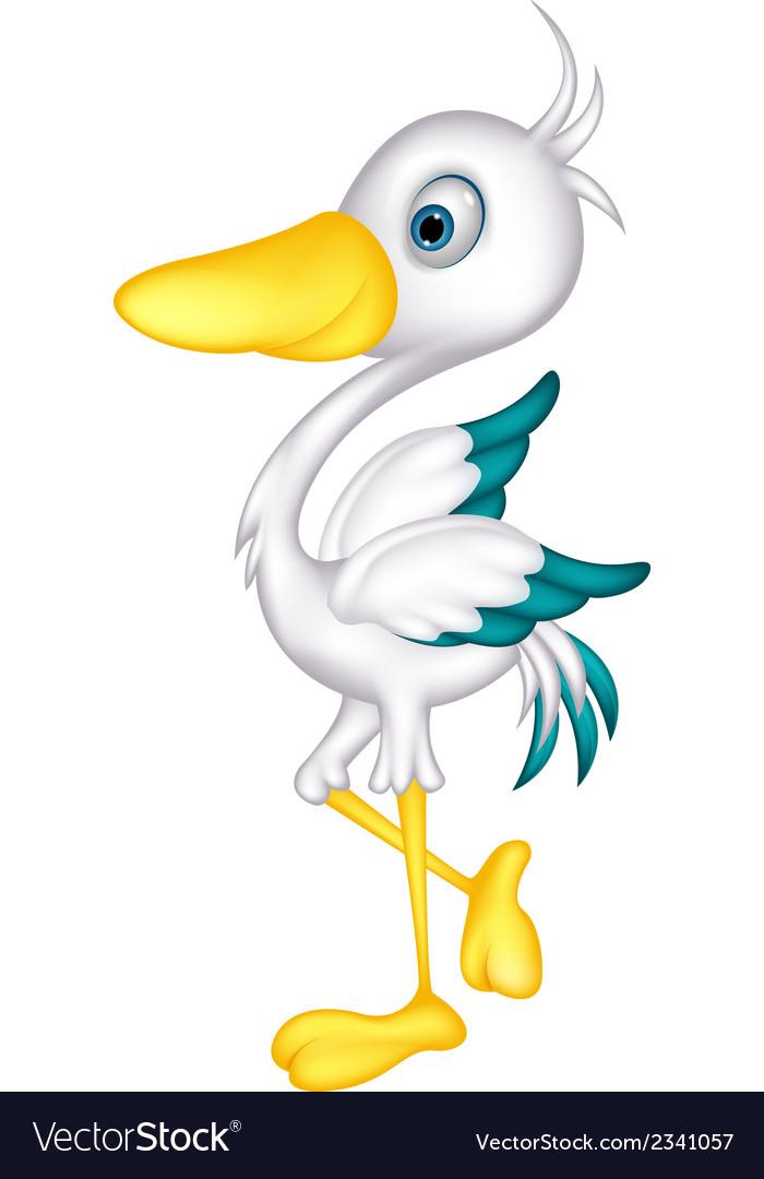 Cute little heron cartoon vector | Price: 1 Credit (USD $1)