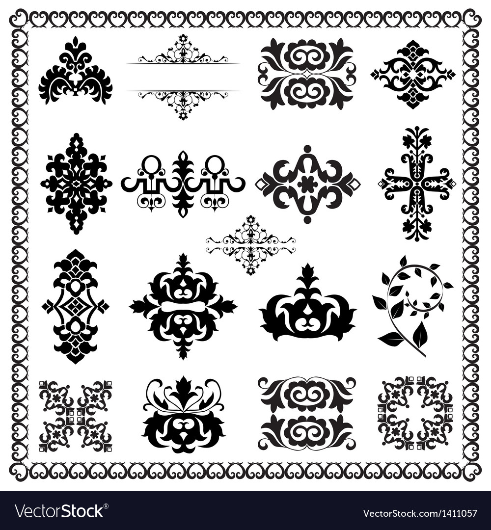 Decorative design elements black vector | Price: 1 Credit (USD $1)
