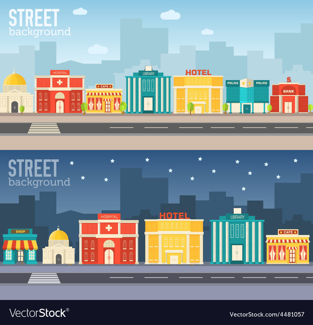 Flat colorful sity buildings set vector | Price: 1 Credit (USD $1)