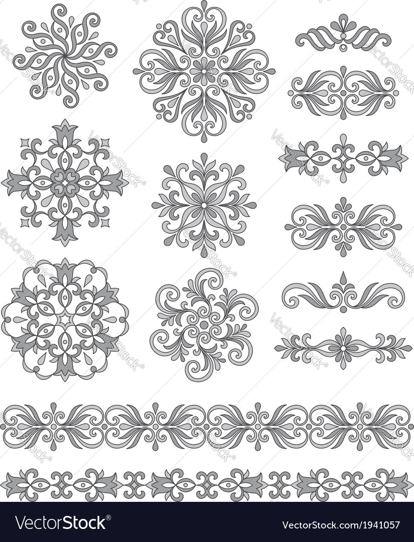 Ornamental elements borders and rosettes vector | Price: 1 Credit (USD $1)