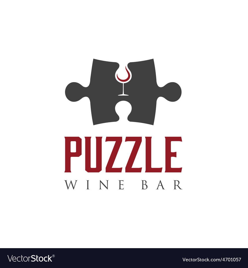 Puzzle wine bar negative space concept vector | Price: 1 Credit (USD $1)