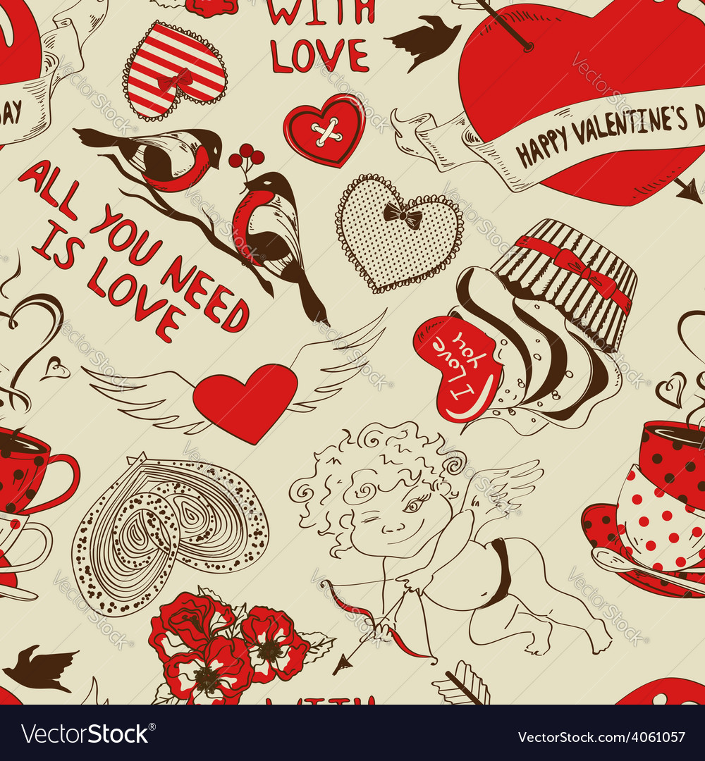 Retro seamless pattern with funny cartoon love vector   Price: 1 Credit (USD $1)