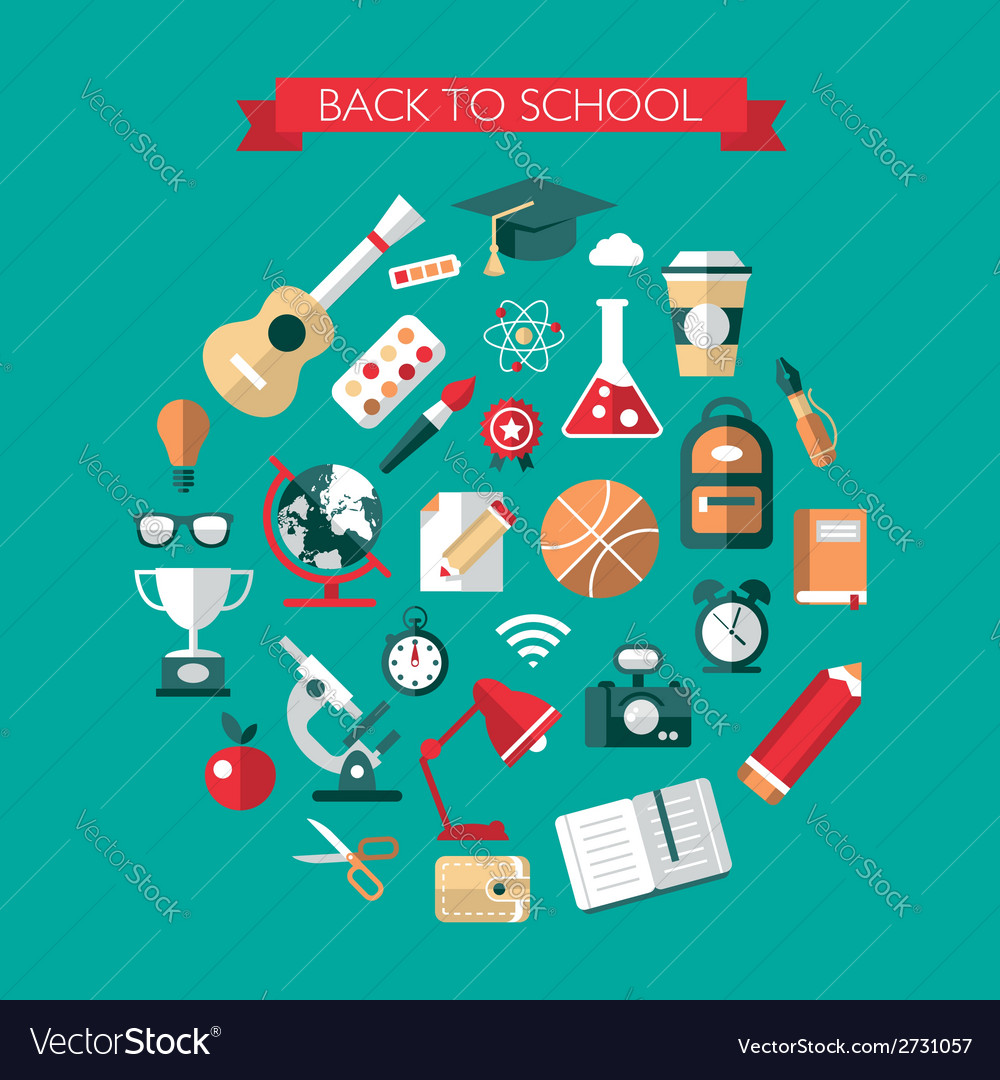 School flat design composition vector | Price: 1 Credit (USD $1)