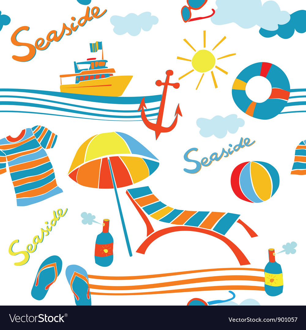 Seaside pattern vector | Price: 1 Credit (USD $1)