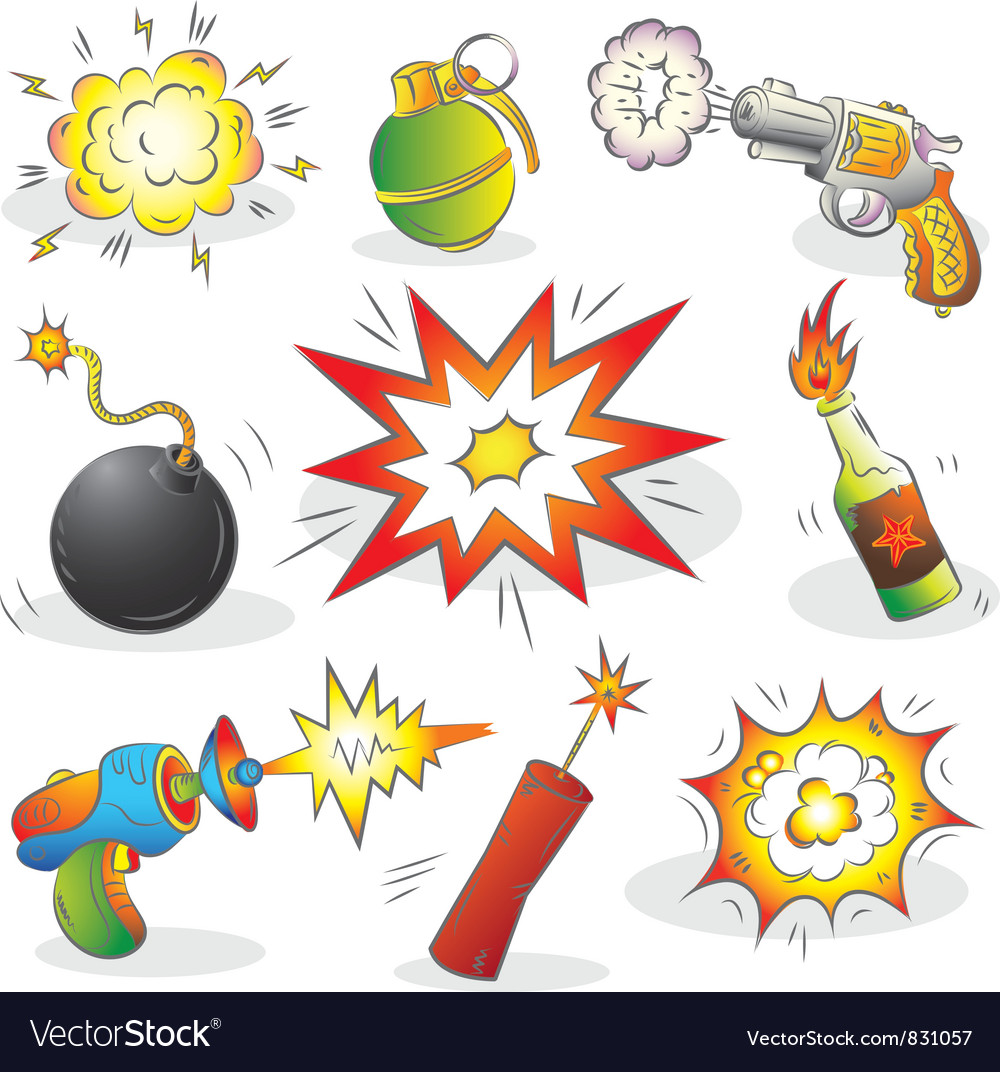 Set of explosives and weapon vector | Price: 3 Credit (USD $3)
