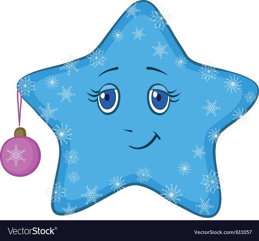 Smiley star with christmas ball vector   Price: 1 Credit (USD $1)