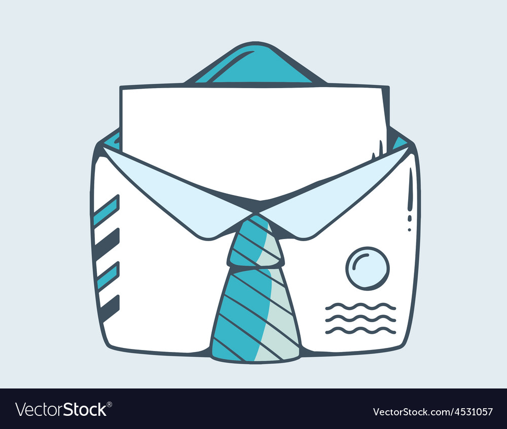 White open envelope with blue tie vector | Price: 1 Credit (USD $1)