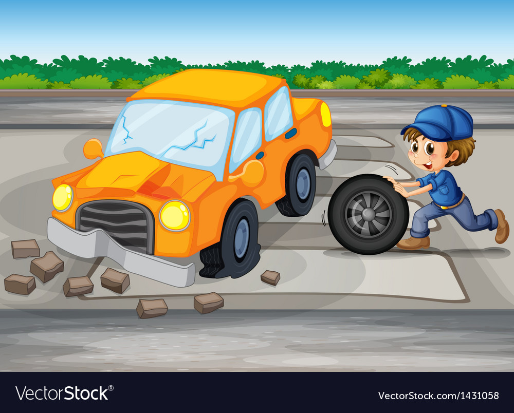 A boy repairing a car at the pedestrian lane vector | Price: 1 Credit (USD $1)