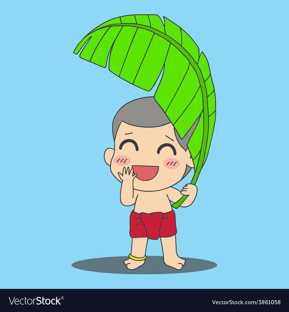 Banana leaf boy vector | Price: 1 Credit (USD $1)