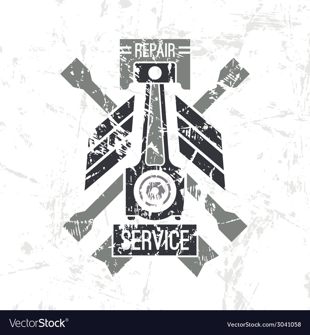 Car service piston emblem vector | Price: 1 Credit (USD $1)