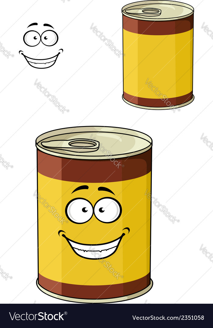 Cartoon can of tinned food with a happy smiling vector | Price: 1 Credit (USD $1)